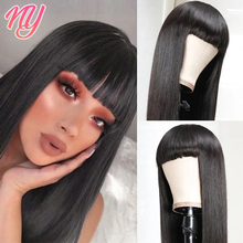 NY Machine Made Wigs Straight Black Color for Black Women Remy Hair With Bangs Style 180 Density 24 26'' 28 inches Brazilian