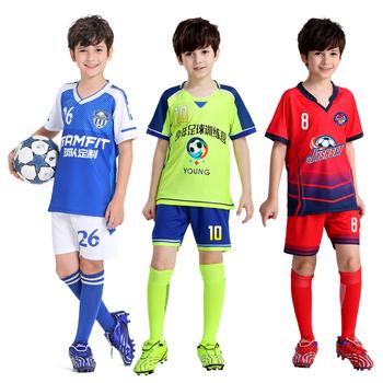 Koszulki piłkarskie dla dzieci 2020 francja piłka nożna koszulka piłkarska niestandardowe krótkie rękawy dla chłopca koszulka piłkarska spodenki drużyna piłki nożnej mundury tanie i dobre opinie jianfei Chłopcy Poliester Elastan Pasuje prawda na wymiar weź swój normalny rozmiar Y303 Youth Boy Girl Multi Color