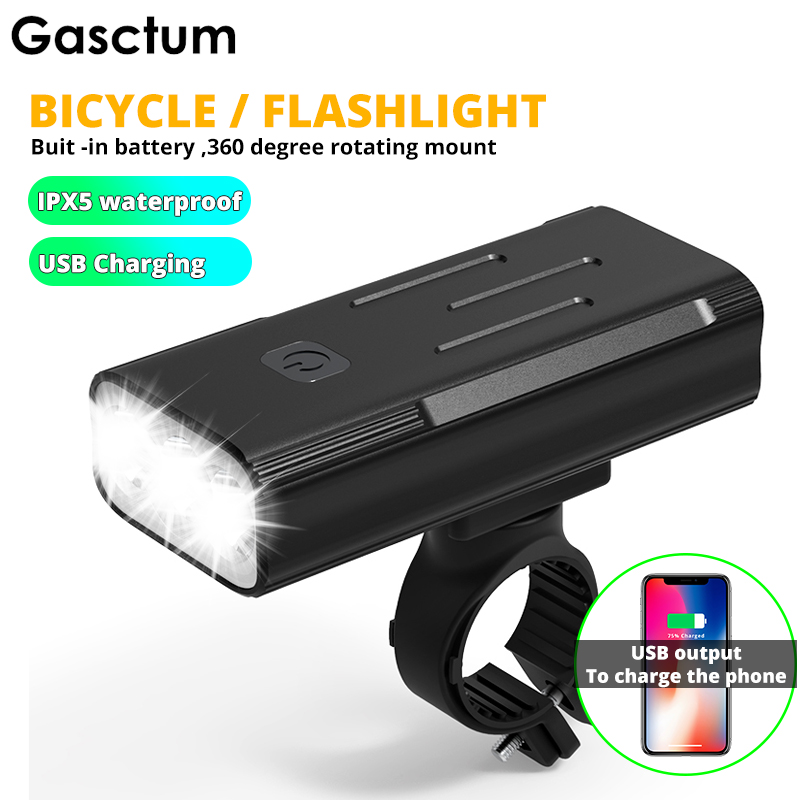 Powerful Bike Light L2 5200mah <font><b>Flashlight</b></font> <font><b>For</b></font> <font><b>Bicycle</b></font> T6 Light USB Rechargeable Battery Front Cycling Light As Power Bank image