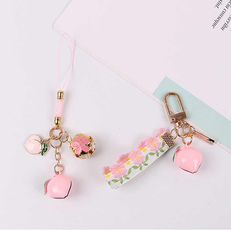 Creative Asakusa Pink Temple Peach Ring Keychain Defensive Luck Love Career Praying Keyring Earphones Bag Hanging Key Chain Gift