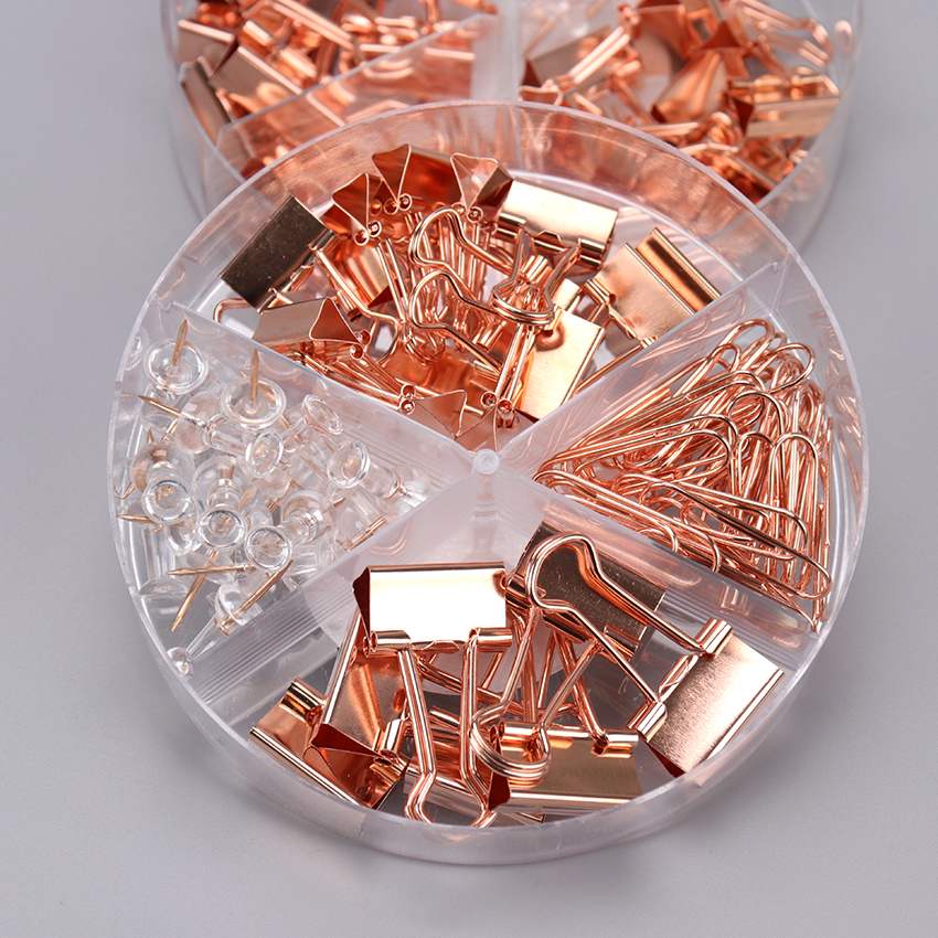 72PCS/Box Rose Gold Metal Clip Large-Headed Binder Clips Office Binding Supplies Combination Set Delicate Stationery