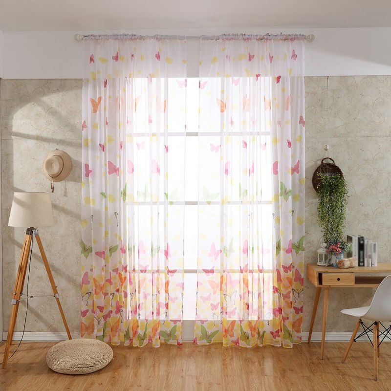 Butterfly Printed Tulle Voile Door Window Balcony Sheer Panel Screen Curtain Home Room Hanging Decor Children's Room Curtain