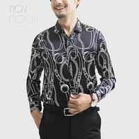 Korean fashion printed style men summer turn down collar full sleeve spandex silk shirt camisas para hombre chemise homme LT3051
