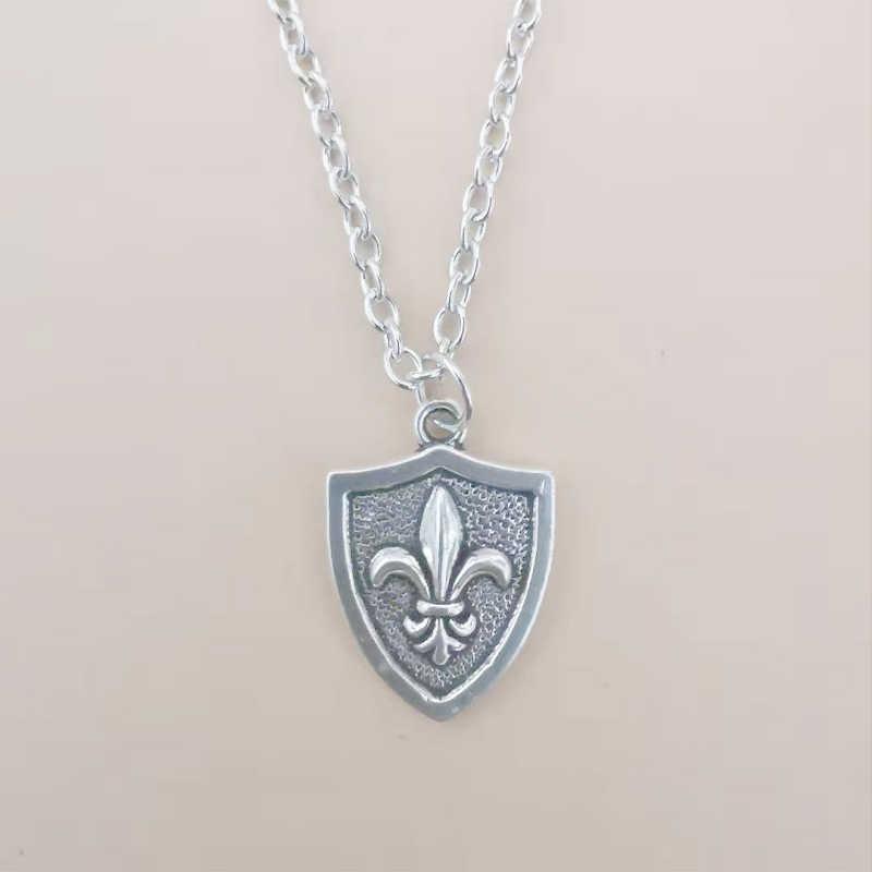 Fleur De Lis Bahasa Perancis Lily Bunga Kalung untuk Wanita Hadiah Natal Vintage Liontin Kalung Kalung Collier Perak Desain Perhiasan