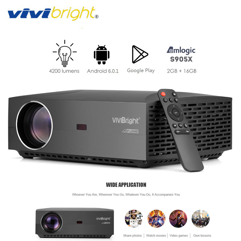VIVIBRIGHT F30UP LCD Projektor Android Home Entertainment Kommerziellen 1080P FHD 4200 Lumen Bluetooth 4,0 Unterstützung 3D LCD Projektor