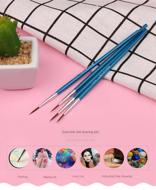 10Pcs/Set Fine Hand-painted Thin Hook Line Pen blue Baton Drawing Art Pen Paint Brush Art Supplies Nylon Brush Special Offer 2