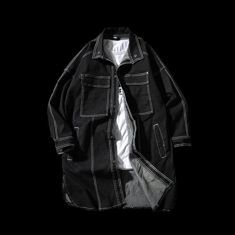 New Male Solid Outwear Long Cowboy Jackets Denim   Trench   Men Fashion Denim Long   Trench   Denim Hip-Hop Coats & Jackets