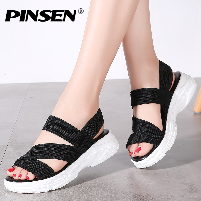 PINSEN Women Sandals 2020 Summer Female Shoes Woman Wedge Comfortable Sandals Ladies Slip-on Flat Sandals Women Sandalias Mujer