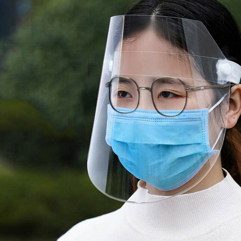 1pc Adjustable Full Face Shield Protection Clear Safety Mask  Flip-Up Visor Industry Medical Work Guard Virus Protection