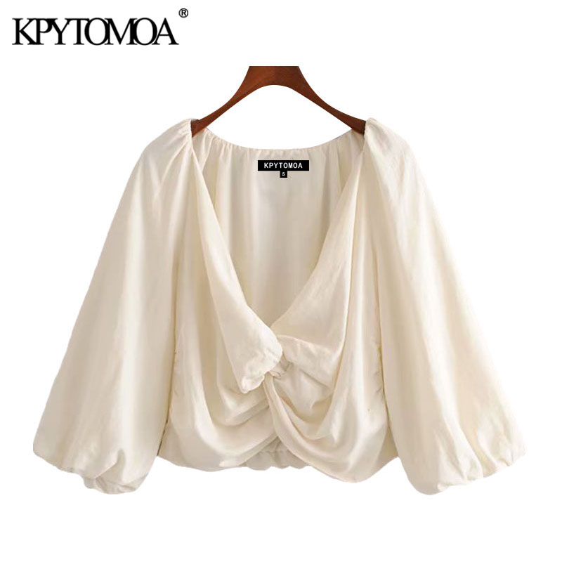 KPYTOMOA Women 2020 Fashion With Knot Cropped Blouses Vintage V Neck Three Quarter Sleeve Female Shirts Blusas Chic Tops