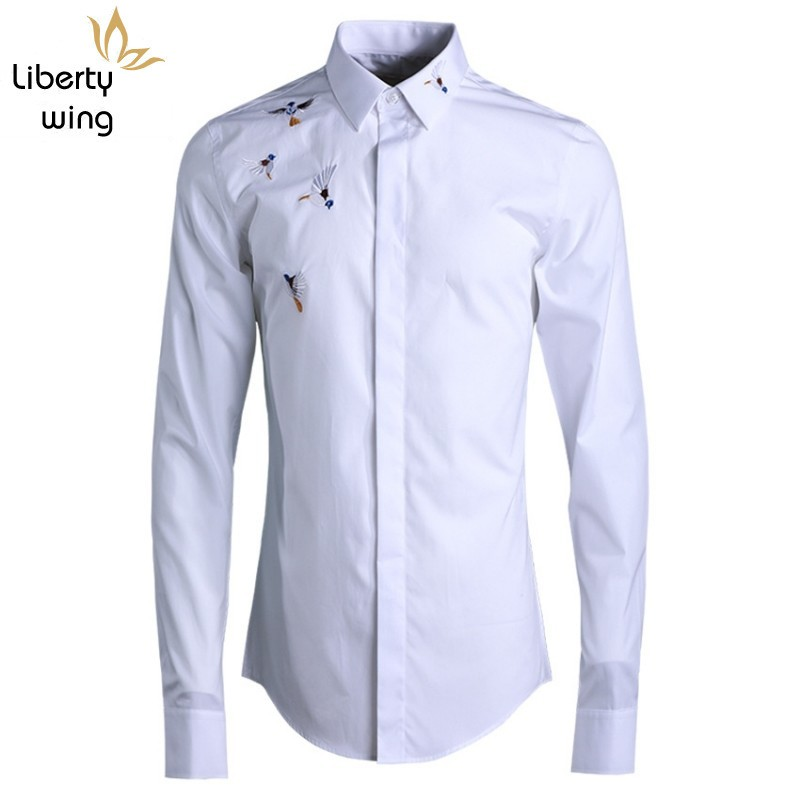 Classic Embroidery Men Long Sleeve Slim Casual Office Fashion Black/White/Dark Blue Square Collar Formal Shirt Male