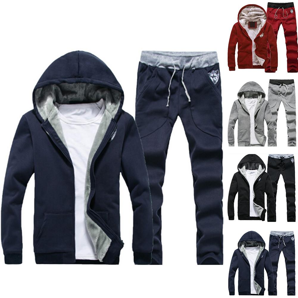Plus Size Men Casual Warm Tracksuit Fleece Zipper Hooded Coat Drawstring Pants