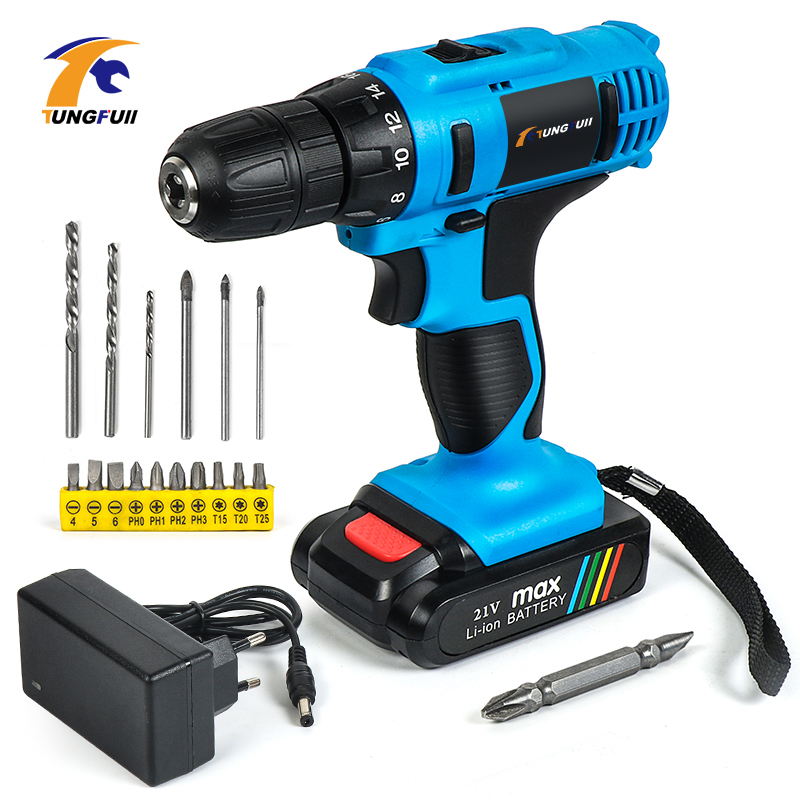 Tungfull Cordless Rechargeable Screwdriver Li Ion Torque Drill Mini Electric Screwdriver Home Waterproof Power Tools Eu Plug 21V