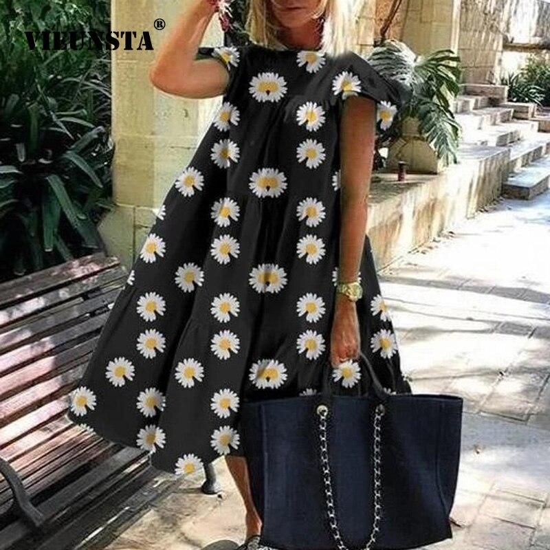 Women Vintage Floral Print Loose A-Line Dress 2020 Summer O-neck Petal Short Sleeve Dress Elegant Casual Party Dress 3XL Vestido