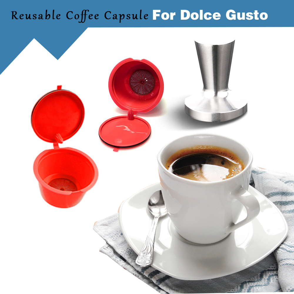 4PCS Refillable Dolce Gusto Coffee Capsule 1PCS Stainess Steel Tamper Nescafe Dolce Gusto Reusable Capsule Dolce Gusto Capsules