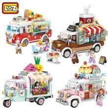 LOZ MINI Blocchi Città Street view Serie di frutta/ice cream/pizza/coffee shop di vendita turcks divertente конструктор limitatrice di pressione giocattoli