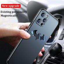 Ultra fino metal bat matte caso do telefone para o iphone 12 11 pro max mini se xs xr xs max x 8 7 mais proteção magnética caso capa