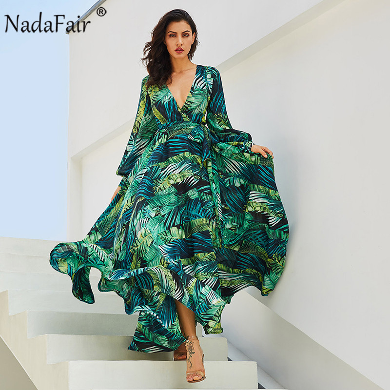 Nadafair Floral Printed Long Summer Beach Chiffon Dress Plus Size Vintage Sexy V Neck Belt Tunic Boho Maxi Dress Women