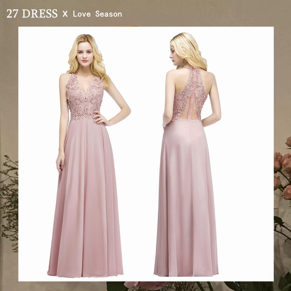 Babyonlinedress Sexy V Neck Dusty Rose Lace Chiffon Long Evening Dress Elegant Sleeveless Evening Gowns with Pearls Abendkleid