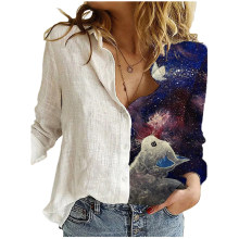 Fashion Starry Sky Print T Shirt Women Lovely Print Long Sleeved O-neck T-shirt Vintage Tshirt Harajuku Tops Fashion Tee