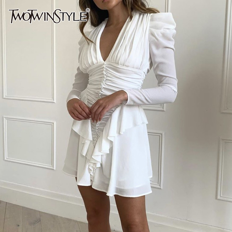 TWOTWINSTYLE Elegant White Ruffle Dress For Women V Neck High Waist Long Sleeve Slim Mini Dresses Female 2020 Summer Fashion New