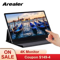 Arealer 4K Portable Monitor 15.6'' Touch Screen LED Monitor IPS Expansion Screen 3840×2160 Portable Monitor for Switch/PS4/XBOX