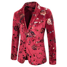Red Rose Bronzing Men Suit Jacket 2019 Brand New Nightclub Stage Blazer Men Party Prom Suit Blazers for Wedding Costume Homme(China)