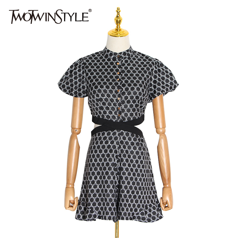 TWOTWINSTYLE Hit Color Dot Dress For Women O Neck Short Sleeve High Waist Hollow Out Dresses Female 2020 Spring Fashion New