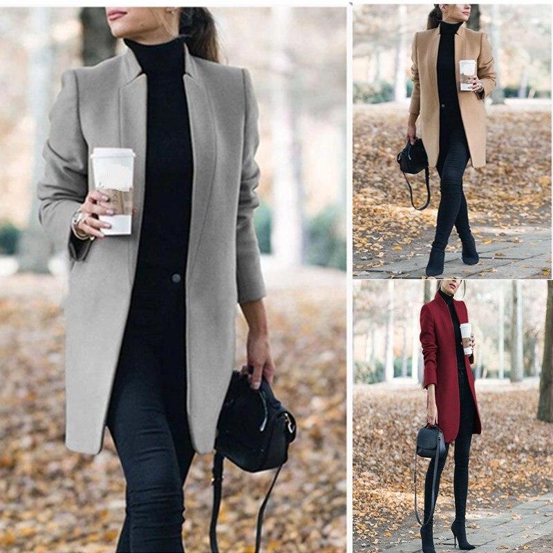 Spring 2020 Casual Women Black Woolen Coats Fashion Streetwear Pockets Jacket Long Sleeve Ladies Woolen Coats Office Work Suits