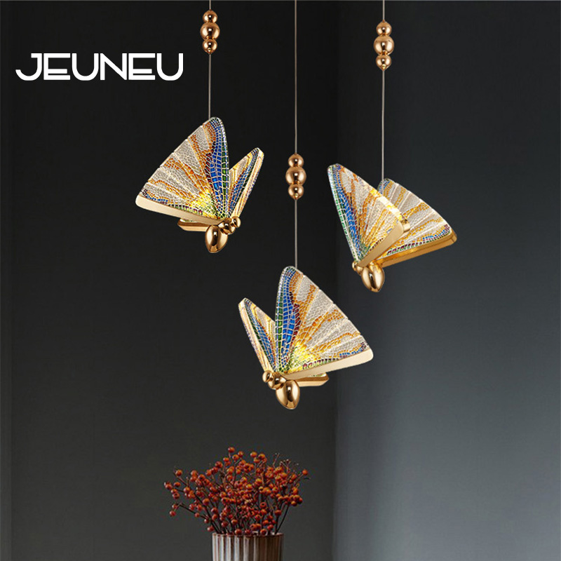 Modern Nordic Pendant Lights Led Indoor Lighting Acrylic Hanging Lamps Bedroom Bedside Dinning Kitchen Decor Bar Butterfly Lamp