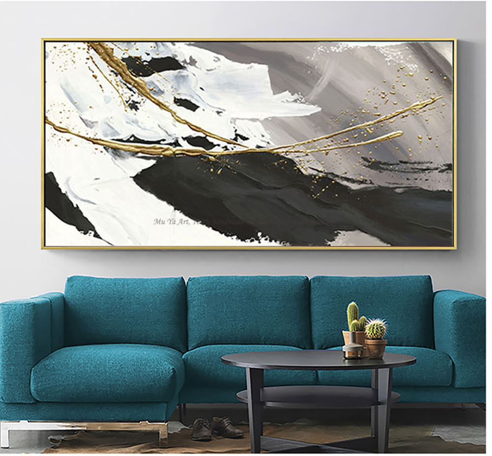 Image 3 - Hand painted oil painting canvas abstract black and white gold 
