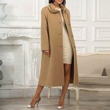 Elegant Women Long Overcoats Autumn Solid Color Female Wool Blends