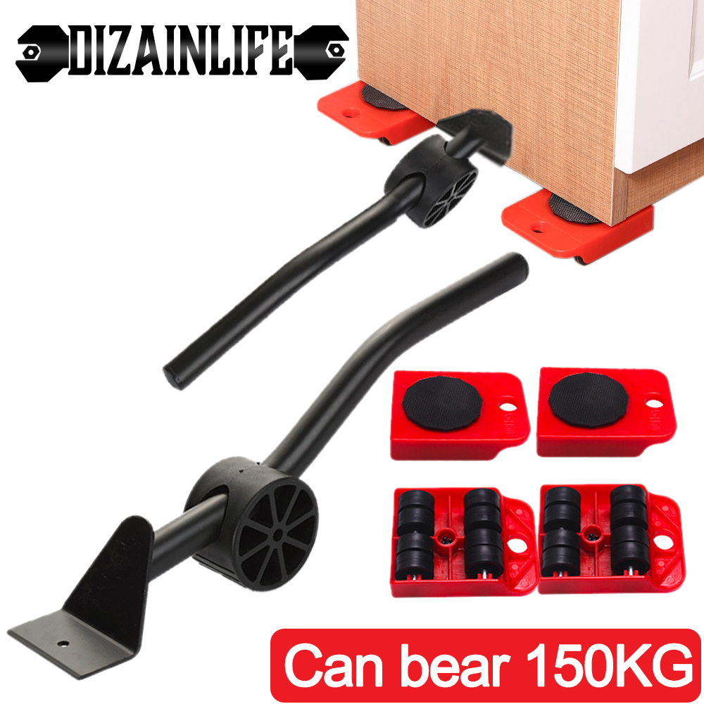 5PCS/Set Professional Furniture Transport Lifter Tool Set Furniture Mover Wheel Bar Roller Device Heavy Stuffs Moving Hand Tools-0