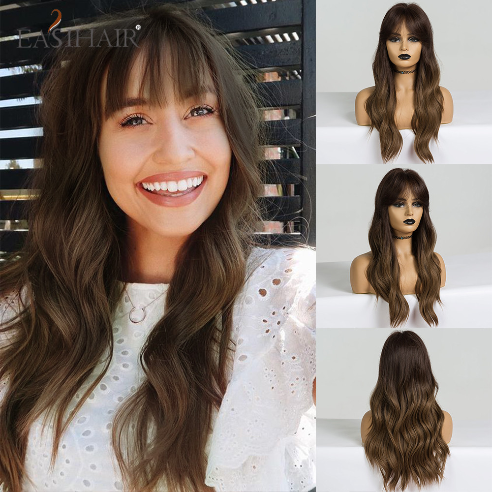 EASIHAIR Long Wavy Ombre Brown Synthetic Wigs With Bangs For African American Women Cosplay Natural Wigs Heat Resistant Fiber