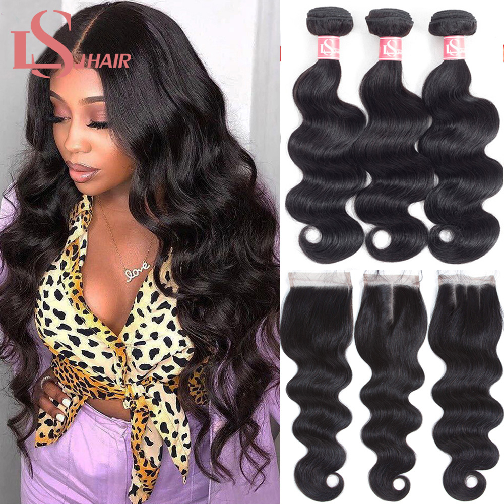 LS Hair Body Wave Bundles With Closure 100% Human Hair Bundles With Closure Brazilian Body Wave 3 Bundles With Closure Remy Hair