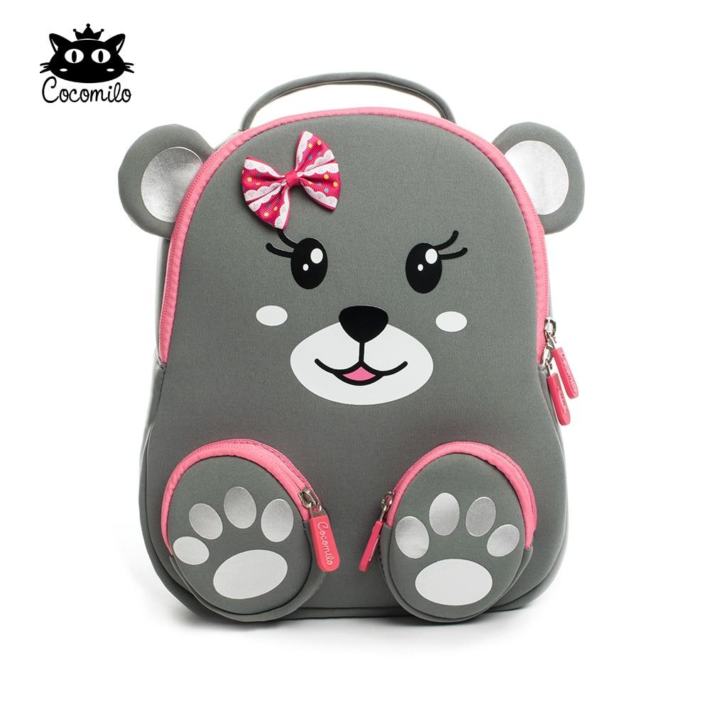 Cocomilo Brand Kindergarten Kids 3D Animal Backpack Waterproof Schoolbag Satchel Boys Girls Children Cartoon Cat Bear School Bag