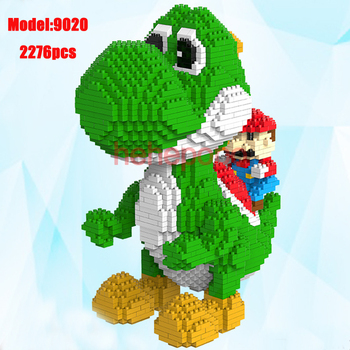 2000pcs 9020 Yoshi Mini Blocks Big Model Size Mario Blocks Anime DIY Micro Building Block Toys Auction Model Toy Kids Gifts 2