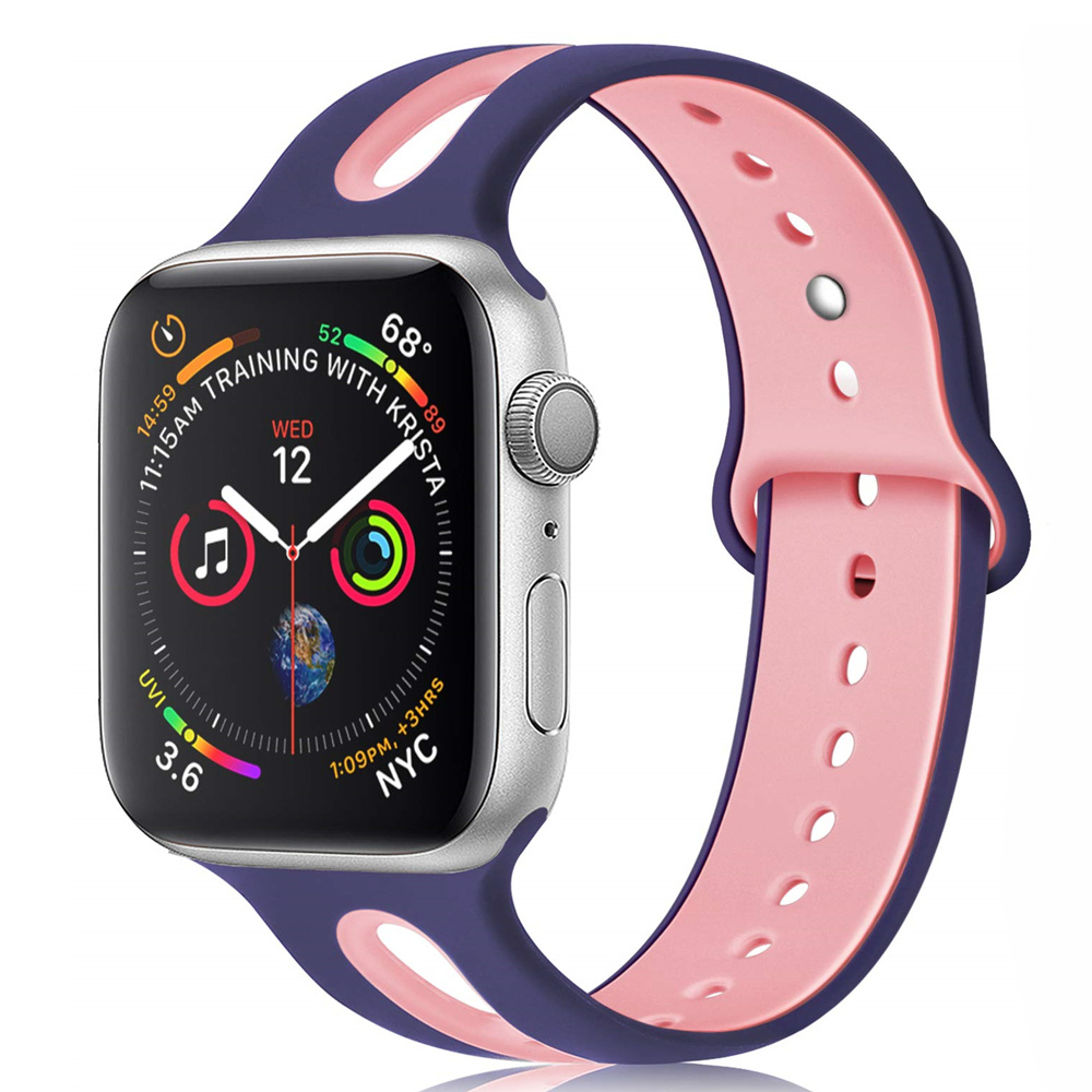 Silicone Strap For Apple Watch Band 44 Mm 40mm IWatch Band 38mm 42mm Breathable Sport Watchband Bracelet Apple Watch 5 4 3 2 1