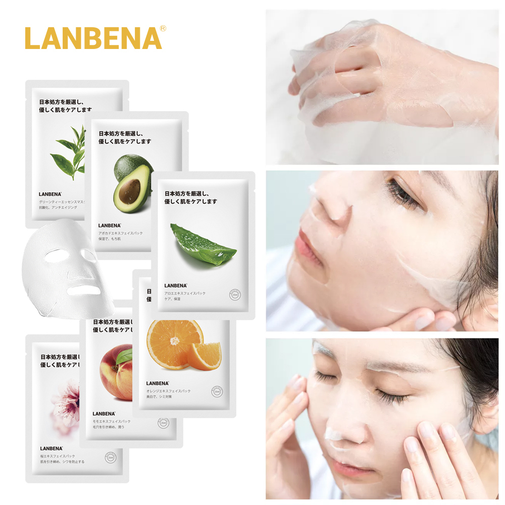 LANBENA Face Mask Fruit Facial Mask Peach Tea Tree Oil  Cherry Blossom VC Avocado Aloe Whitening Moisturizing Water Locking