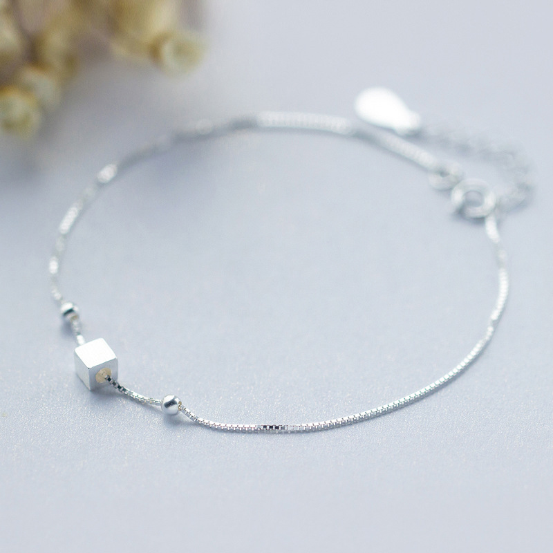 Modian 3D Square Bead Silver Bracelet for Leg 925 Sterling Silver Anklets for Women Simple Minimalism Fashion Jewelry Gifts