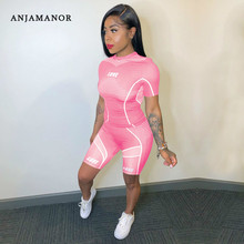 ANJAMANOR Sporty Fashion Two Piece Set Top and Shorts Casual