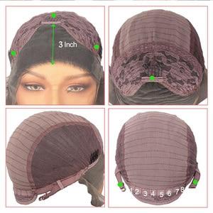 Image 3 - Leeven peluca con malla frontal rojo cobrizo largo ondulado, sintética, 24 pulgadas, rosa, naranja, morado, pelucas con minimechones, peluca de jengibre rubio 613