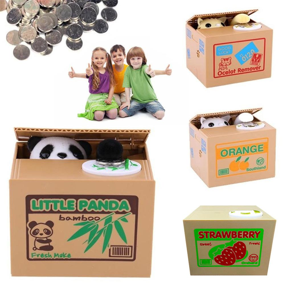Money Bank Cat Panda Money Boxes Toy Piggy Banks Gift Kids Money Boxes Automatic Coin Piggy Bank Money Saving Box Gift for Child