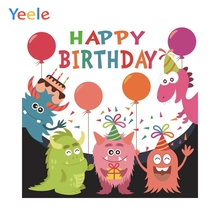 Yeele Monsters Photography Background Baby Birthday Backdrops Photo Shoot Props Photobooth Printed Customized Photo Backgrounds pastel pink color princess baby girl photo shoot background printed flowers newborn photography props kids portrait backdrops
