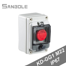M22 Outdoor Waterproof IP67 Push Button Switch Box Emergency Stop Control Distribution Red 10A Screw Installation nc emergency stop no red green push button switch station 600v 10a