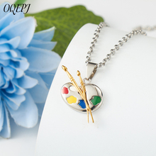 OQEPJ Trendy Cartoon Colorful Drawing Board Necklace Pendant Stainless Steel Pendants Pendant Paint Palette Necklaces For Women
