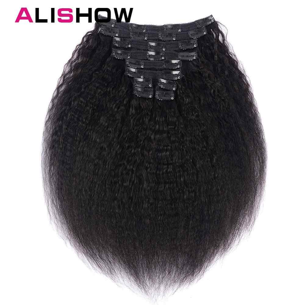 Alishow Hair Kinky Striaght Clip In Human Hair Extension 120g Brazilian Natural Hair in Clips Remy Hair Natural Color