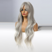 ALAN EATON Long Wavy Gray Ash Blonde White Ombre Wigs for Women Natural Synthetic Hair Wig with Bangs for Cosplay Daily Party
