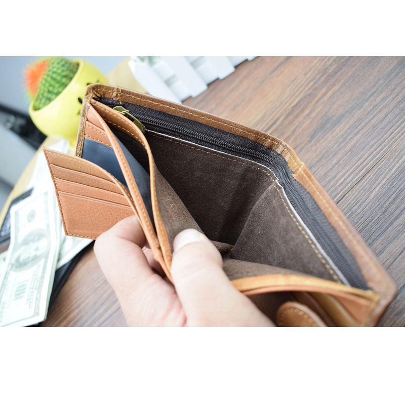 Bifold Genuine Leather Beige Wallet Eagle Head Embossed Design with Zippers