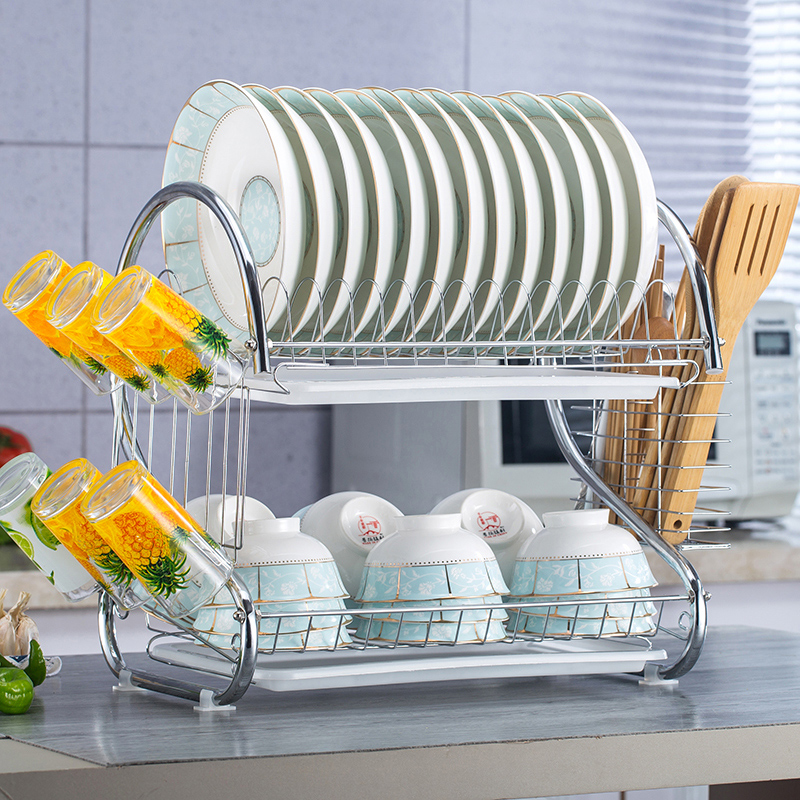 2 Tier Dish Rack Holder Basket Plated Iron Home Washing Great Kitchen Sink Dish Drainer Drying Rack Organizer Free Shipping